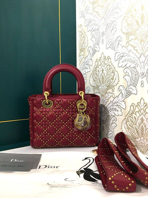 Brand New Lady Dior Studded Red Small Calfskin with GHW