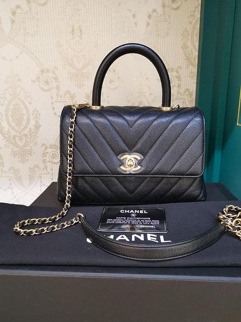 #26 LNIB Chanel Coco Handle Small/Mini Black Chevron Caviar GHW (Cash S$6,690)