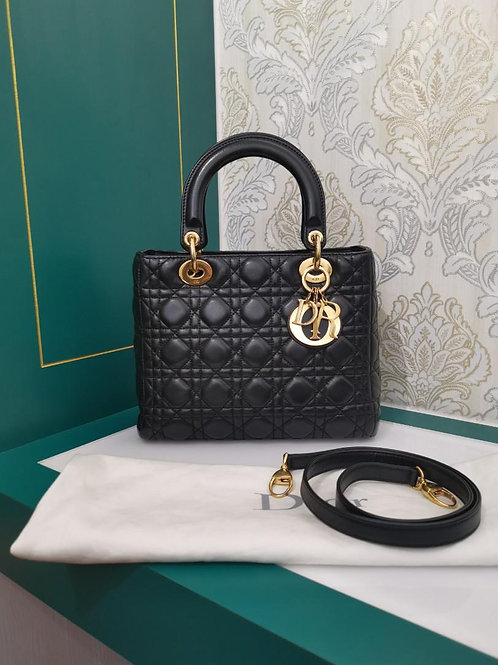 Excellent Lady Dior Medium Black Lamb GHW