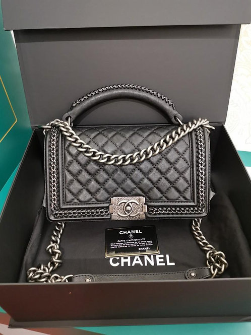 #23 LNIB Chanel Boy with Handle Old Medium Black Calf RHW