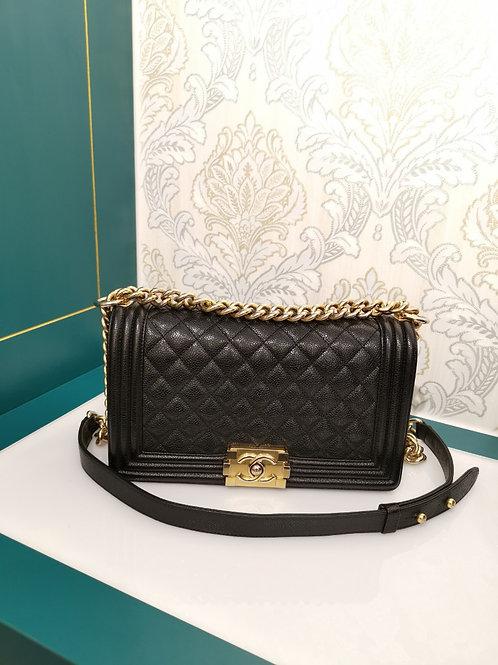 #23 Chanel Boy Old Medium Caviar Black with GHW