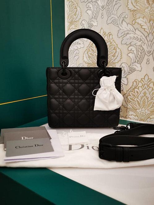 Almost New Lady Dior Small Black Ultramatte Calfskin