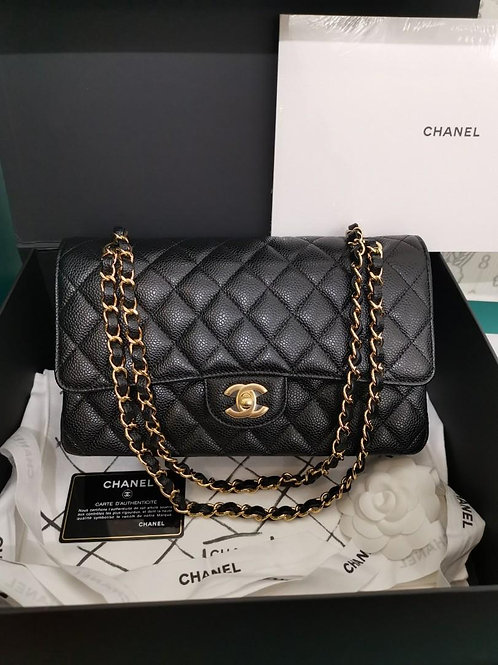 #25 BNIB Chanel Medium Classic Double Flap Black Caviar with GHW