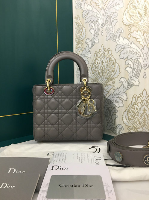 Brand new Lady Dior Small Grey Lamb with GHW