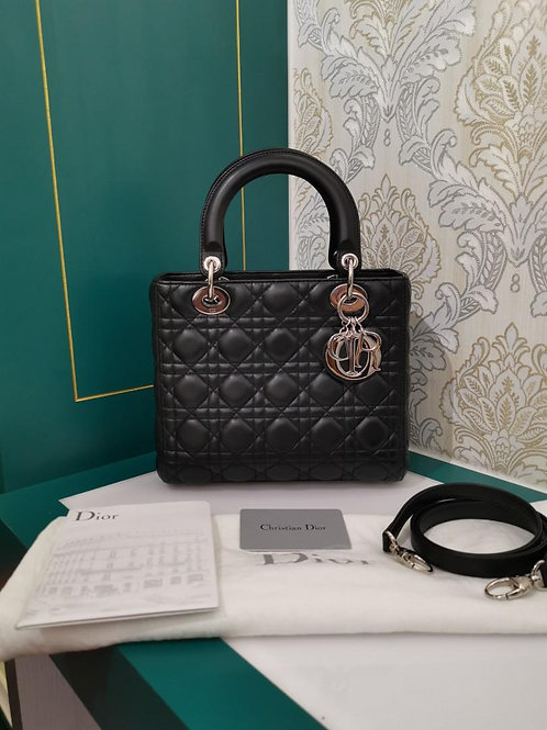 Like New Lady Dior Black Medium Lamb with SHW