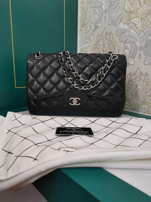 #15 Like New Chanel Jumbo Classic Double Flap Black Lamb with SHW