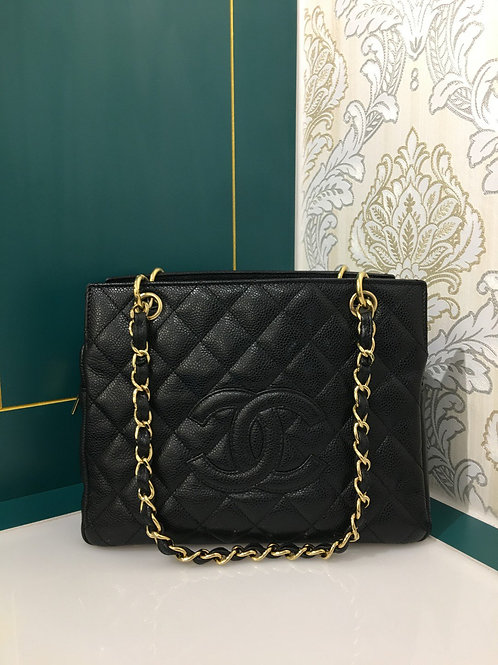 Excellent Condition Chanel PTT Petite Timeless Tote Black Caviar with GHW
