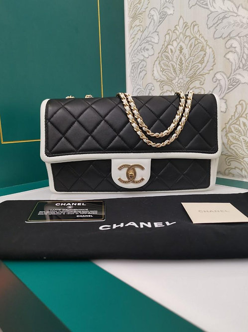 #18 Like New Chanel Graphic Medium Flap Calf GHW