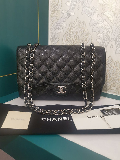Chanel Jumbo Classic Single Flap Black Caviar with SHW