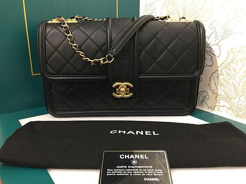 #23 Brand new Chanel Elgant CC Flap Large Black Calfksin with GHW