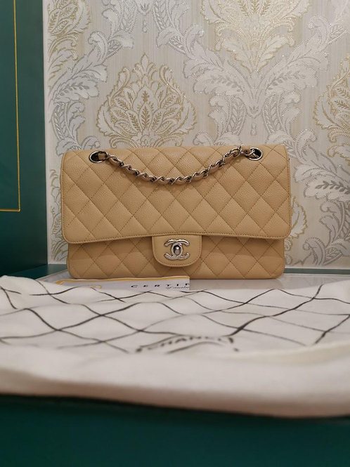 Like New Chanel Medium Classic Double Flap Beige Caviar with SHW