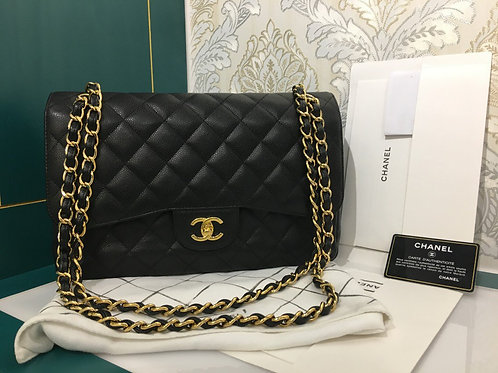 #22 Chanel Jumbo Classic Double Flap Black Caviar with GHW
