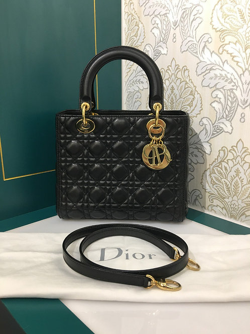 Like New Lady Dior Medium Black Lambskin with GHW