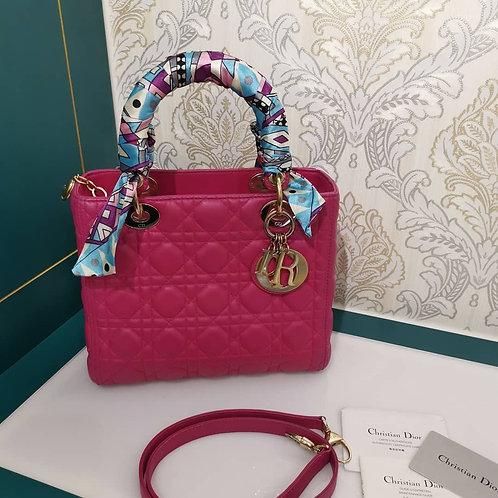 Lady Dior Medium fuchsia pink with GHW