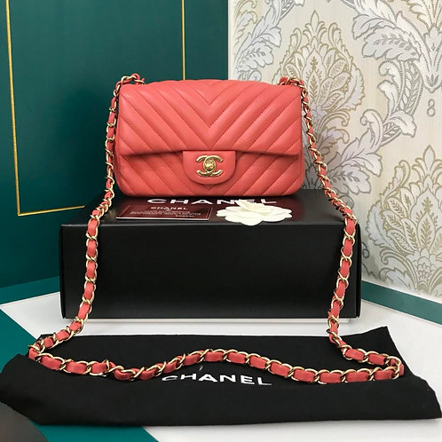 #24 LNIB Chanel mini rectangular Classic Flap Chevron Red Pink Lamb with GHW