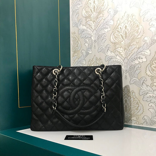 Excellent Condition Chanel GST Black Caviar with SHW