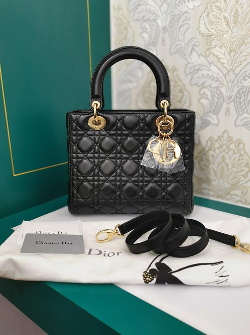 Brand New Lady Dior Medium Black Lamb GHW