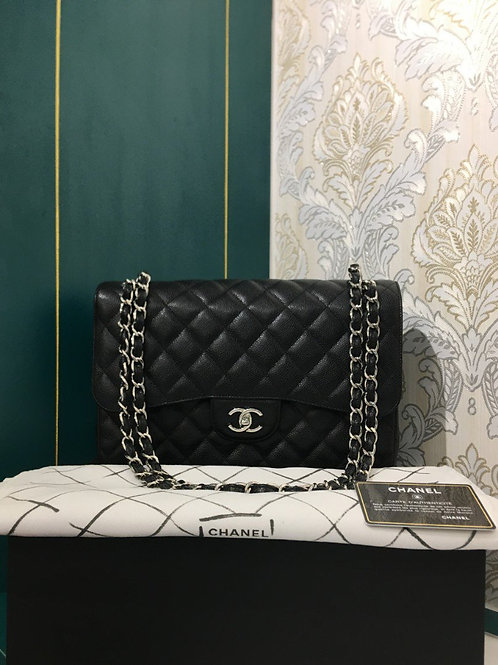#24 BNIB Chanel Jumbo Black Caviar with SHW