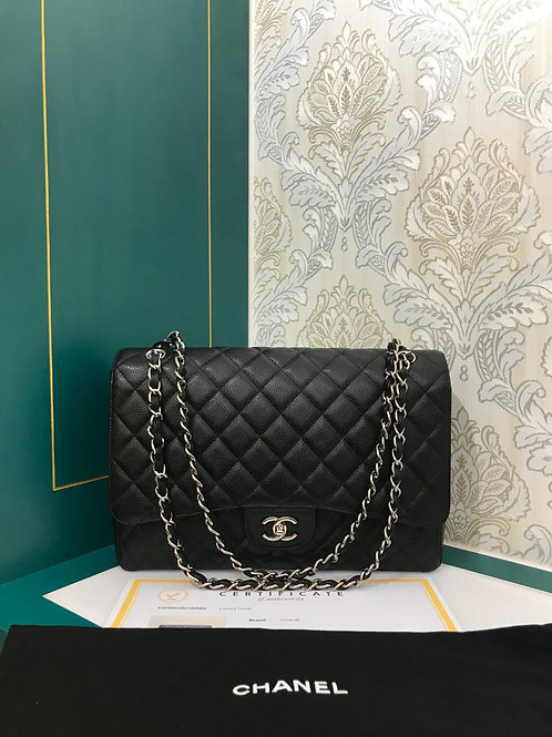Chanel Maxi Single Flap Black Caviar with SHW