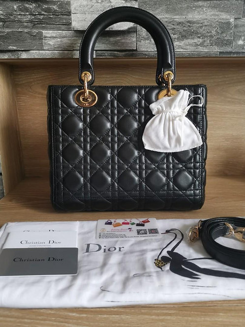 Brand New Dior Lady Dior Black Medium Lamb with GHW