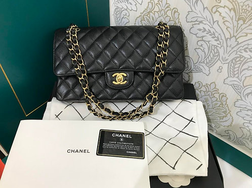 #24 Almost New Chanel Classic Double Flap Medium Black Caviar with GHW
