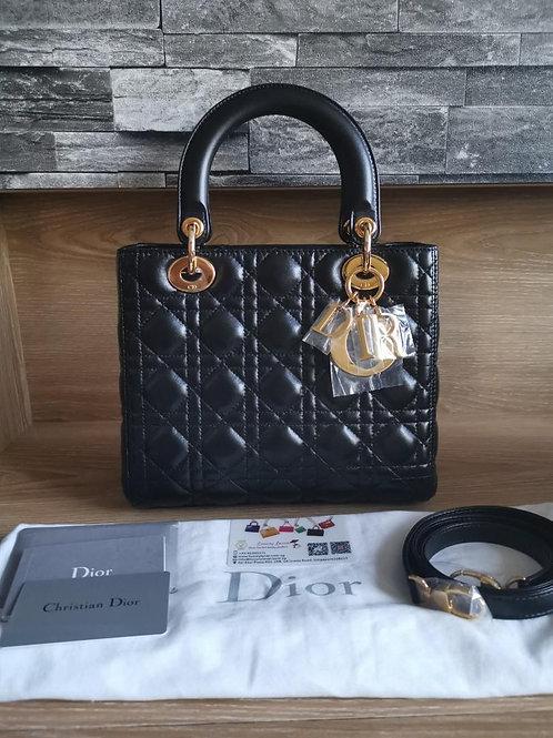 Brand New Lady Dior Black Medium with GHW