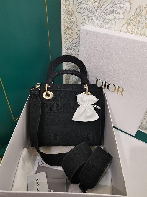 LNIB DIOR lady D-Lite bag Medium Black Cannage Embroidery with Light GHW