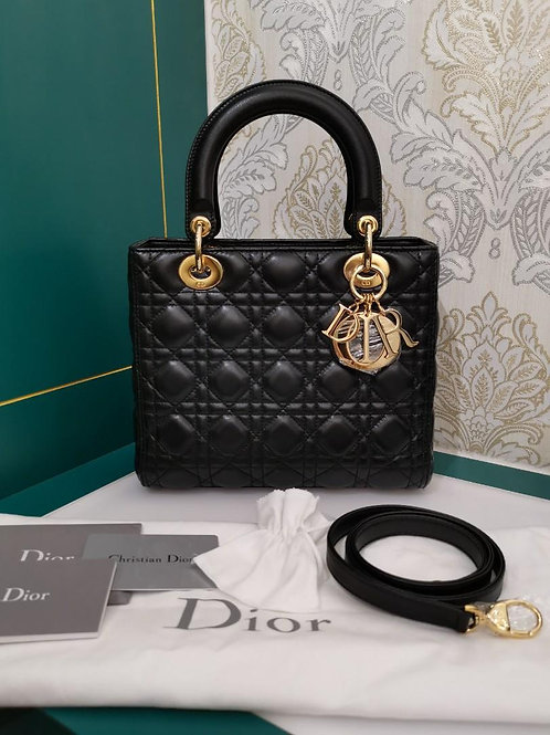 Brand New Lady Dior Black Medium Lamb with GHW
