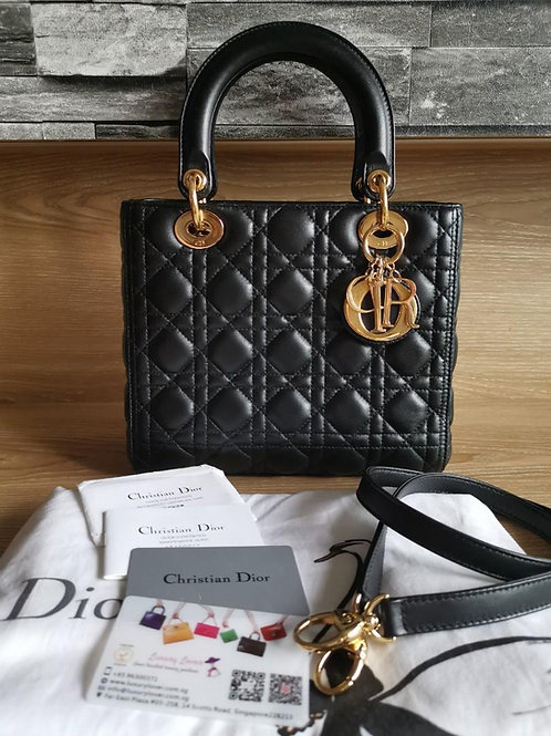 Like New Lady Dior Black Medium with GHW