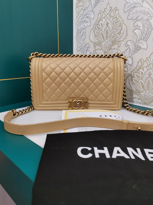 #20 Like New Chanel Boy Old medium Gold with aged GHW