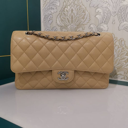 Almost New Chanel Medium Classic Double Flap Caviar Beige with SHW