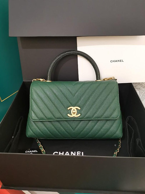 #26 LNIB Chanel Coco Handle with real Lizard Handle Green Caviar with GHW