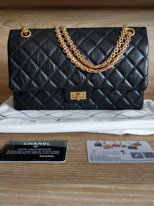#16 Almost New Chanel Reissue 2.55 226 Black Distressed Calf with GHW