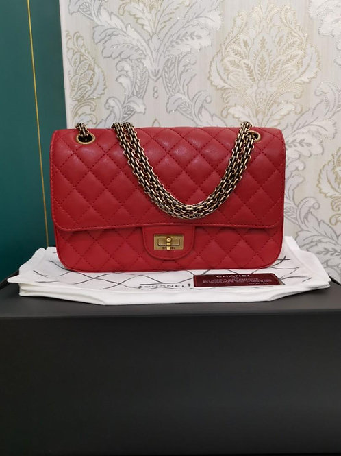 #23 Like New Chanel Reissue 2.55 225 Red Calf with Aged GHW