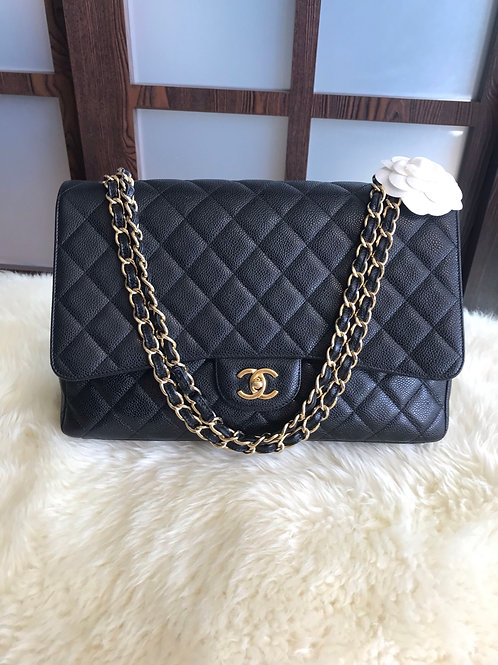 Chanel Maxi Classic Single Flap Caviar Black With ghw