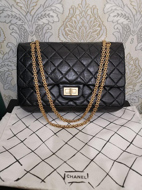 #23 Like New Chanel Reissue 2.55 227 Black Distressed Calf with GHW