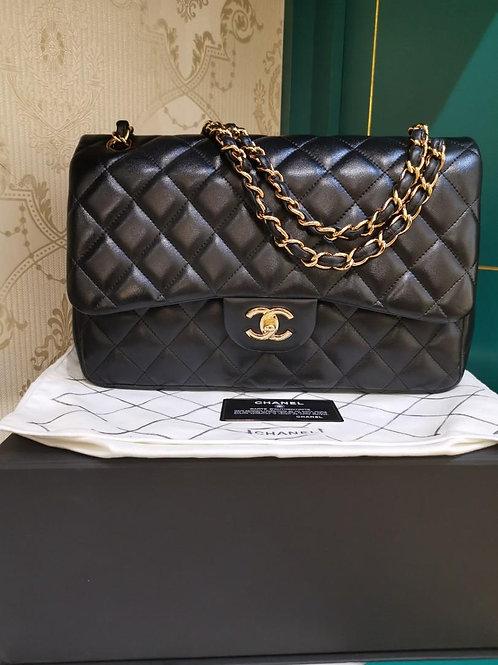 #15 LNIB Chanel Jumbo Classic Double Flap Black Lamb GHW (Cash S$6,580)