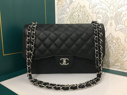 Almost new Chanel Jumbo Classic Double Flap Black Cavir with SHW