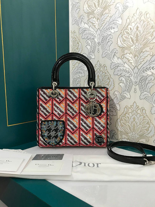 Lady Dior Medium embroidered mixed leather with SHW