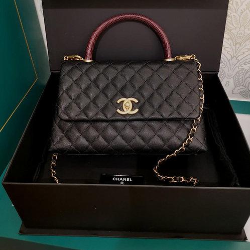 #24 BNIB Chanel Coco Handle Flap with Burgundy Real Lizard Handle Medium Black C