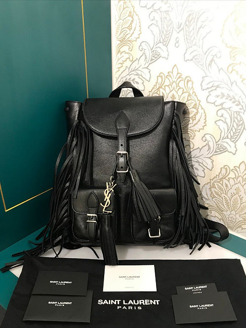 Saint Laurent Backpack Small Black Claf leather with SHW