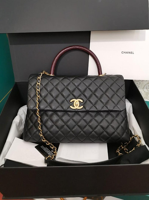 #24 LNIB Chanel Coco Handle Blk Large w Lizard Handle