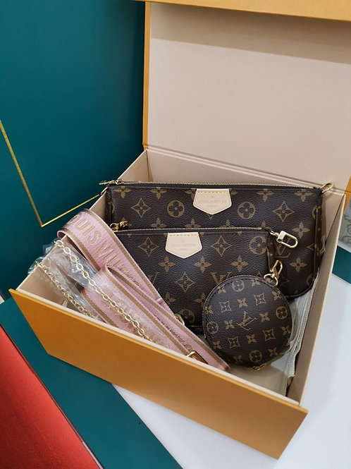 BNIB LV Louis Vuitton Multi Pochette Accessories With Pink Strap