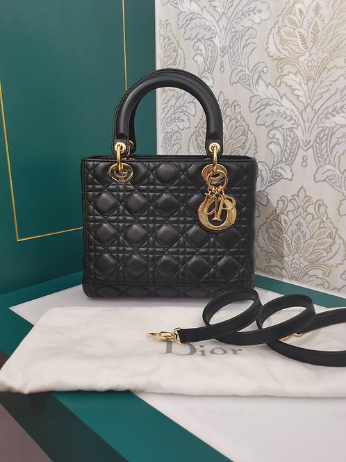 Like New Lady Dior Black Lamb Medium with GHW