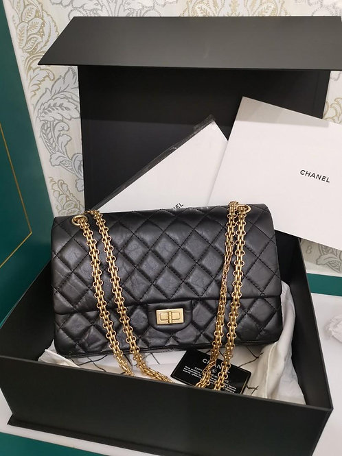 #25 BNIB Chanel 2.55 Reissue 226 Black Distressed Calf with aged GHW