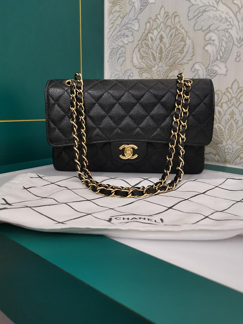 #8 Like New Chanel Medium Classic Double Flap Black Caviar w GHW