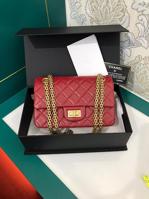 #30 BNIB Chanel 2.55 Small 224 Red distressed Calf with GHW