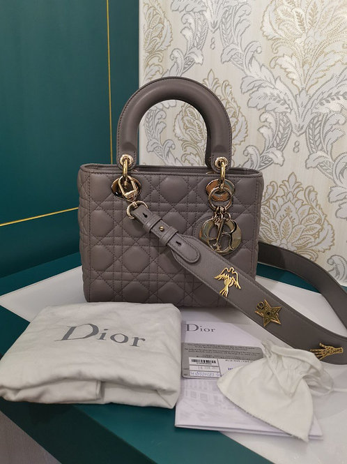 Like New Lady Dior Small Grey Lambskin with GHW