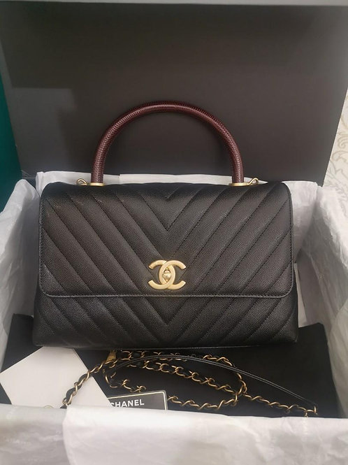 #28 BNIB Chanel Coco Handle Chevron Medium Black Caviar with Burgundy Embossed L
