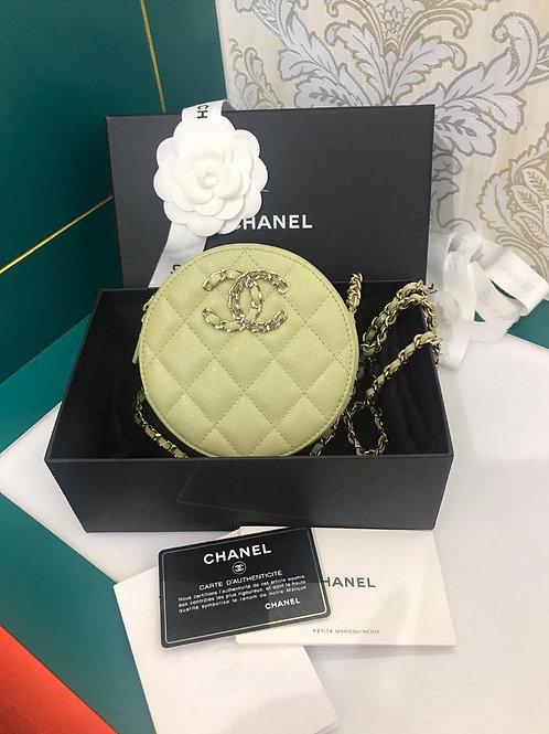 #30 BNIB Chanel Round Clutch with Chain Avacado green Caviar light GHW